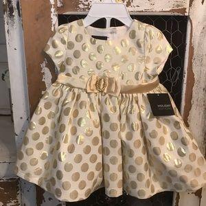 4/$25 NWT Polka Dot Gold belted Holiday Dress 136